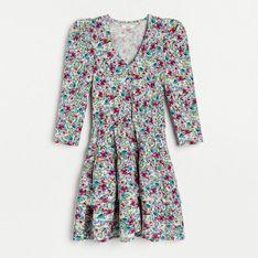 Reserved - Sukienka mini w kwiaty - Beżowy