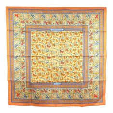 Chasse en Inde Pleated Silk Scarf Fabric Silk