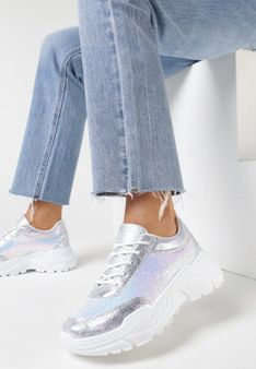 Srebrne Sneakersy Cahrieth