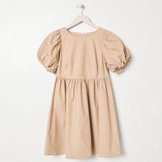 Sinsay - Sukienka z bufiastymi rękawami - Beżowy
