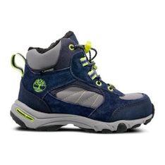 Buty zimowe dziecięce Timberland granatowe bez wzorów trapery na rzepy