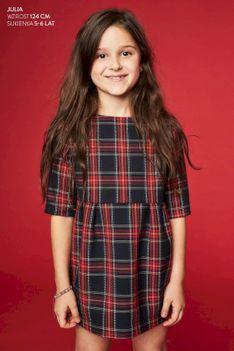 Sukienka dla dzieci MAŁA SZARA FOR KIDS krata czerwona Risk Made in Warsaw