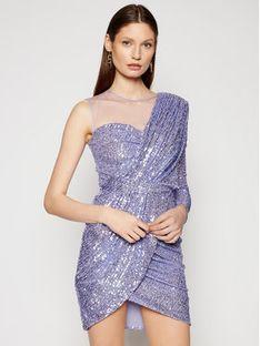 Elisabetta Franchi Sukienka koktajlowa AB-004-11E2-V420 Fioletowy Slim Fit