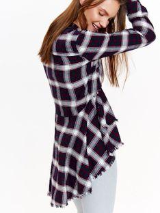 Koszula długi rękaw damska, z falbanami w kratę