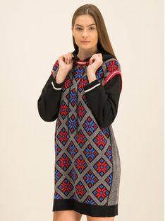 My Twin Sukienka dzianinowa 192MT3162 Czarny Regular Fit