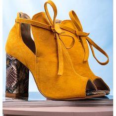 Casu botki wiązane żółte
