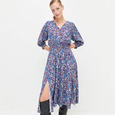 Reserved - Wiskozowa sukienka w kwiaty - Wielobarwny