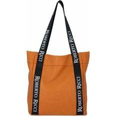 Shopper bag Roberto Ricci na ramię wakacyjna z kolorowym paskiem