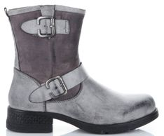 Firmowe Botki Damskie Lady Glory buty na każdą okazję wykonane z wysokiej jakości skóry eko Szare (kolory)