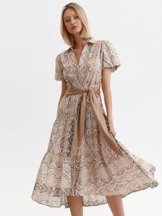 Sukienka w wężowy print z bufiastymi rękawami