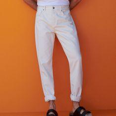 Reserved - Bawełniane spodnie o regularnym kroju - Kremowy