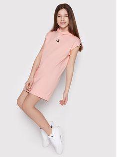 Calvin Klein Jeans Sukienka codzienna Micro Logo IG0IG00914 Różowy Regular Fit