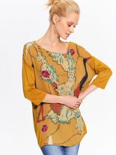 Bluzka damska oversize z łączonych materiałów