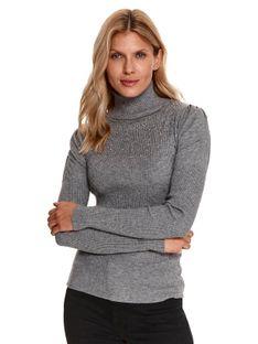 Sweter z golfem i kryształkami