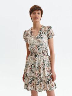 Krótka sukienka z falbankami w roślinny wzór