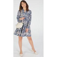 Sukienka Unisono z wiskozy z długimi rękawami mini z kołnierzykiem