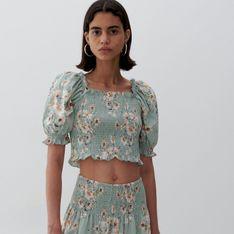 Reserved - Bawełniana bluzka w kwiaty - Wielobarwny