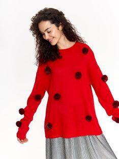 Sweter damski zdobiony pomponami w kontrastowym kolorze
