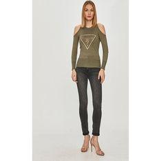 Sweter damski zielony Guess z okrągłym dekoltem