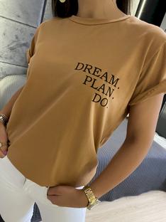 Brązowy T-shirt z Nadrukiem 5873-410-B