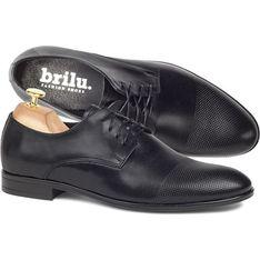 Buty eleganckie męskie czarne Brilu sznurowane