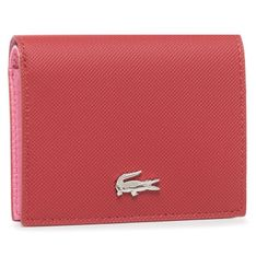 Mały Portfel Damski LACOSTE - Double Purse With Coin NF3252AA Alizarine Chateau Rose F18