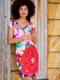 Dopasowana sukienka w duże kwiaty Smashed Lemon 20132
