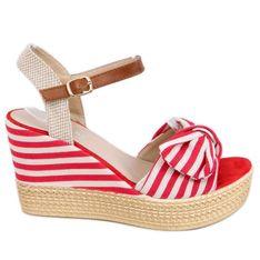 Sandałki na koturnie w paski czerwone A89907 Red beżowy brązowe