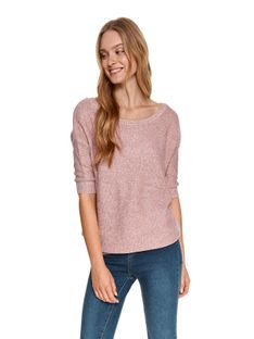 Połyskujący damski sweter w serek o luźnym kroju