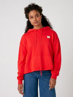 """Wrangler """"Drawcord Hoodie"""" Flame Red"""