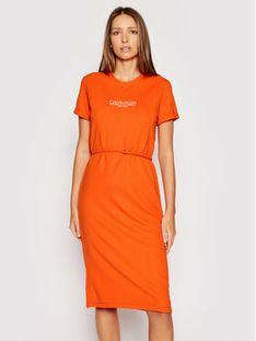 Calvin Klein Sukienka codzienna Logo K20K202805 Pomarańczowy Regular Fit