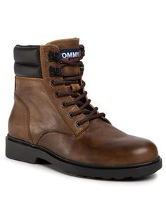 Tommy Jeans Kozaki Classic Tommy Jeans Lace Up Boot EM0EM00540 Brązowy
