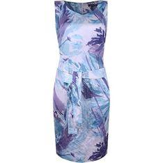 Sukienka Hexeline w abstrakcyjne wzory z tkaniny bez rękawów mini na wesele ołówkowa
