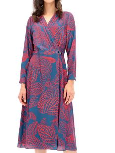 Kopertowa sukienka z motywem liści Ella Boo E-20AW-2058-23