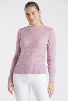 Delikatny ażurowy sweter damski
