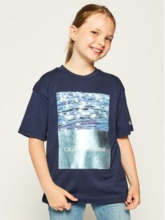 Calvin Klein Jeans T-Shirt Photo Print IG0IG00383 Granatowy Regular Fit