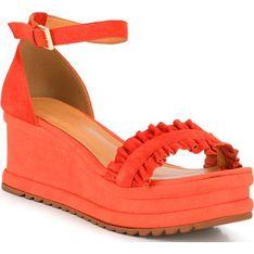 Sandały damskie pomarańczowe Wittchen z klamrą casual na lato skórzane
