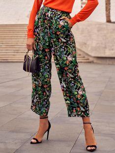 Casualowe spodnie damskie w kwiaty Potis & Verso HARRET