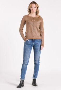 Połyskujący sweter z aplikacjami