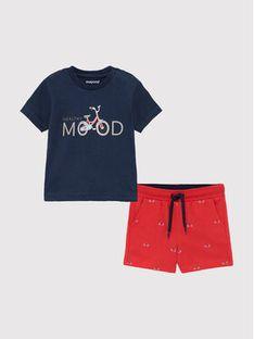 Mayoral Komplet T-Shirt i szorty sportowe 1673 Kolorowy Regular Fit