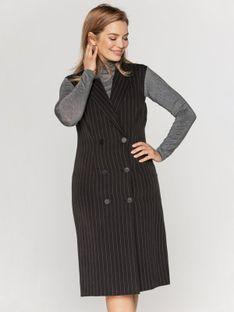 Sukienka kamizelka z dwurzędowym zapięciem w paski Bialcon