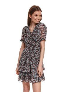 Krótka sukienka w kwiaty z falbanami
