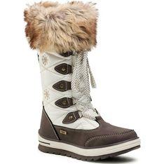 Buty zimowe dziecięce brązowe Tom Tailor wiązane ze skóry ekologicznej sznurowane