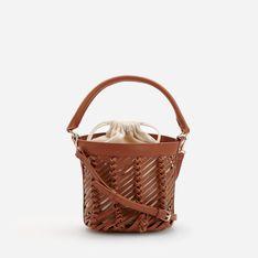 Reserved - Torebka koszyk z plecionym wzorem - Pomarańczowy