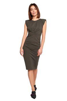 Bawełniana Sukienka z Marszczeniami - Zielona