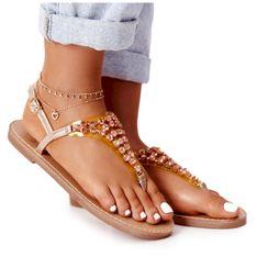 Sandały Japonki Z Kamieniami Lu Boo Różowe Złoto złoty