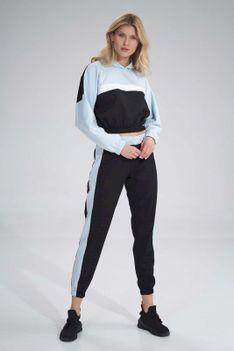 Sportowe Spodnie z Kolorowym Lampasem - Czarno-Niebieskie