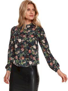Bluzka w kwiaty z bufiastymi rękawami