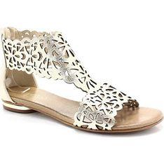 Sandały damskie Tymoteo złote skórzane w abstrakcyjne wzory płaskie casual