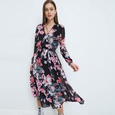 Mohito - Sukienka midi w kwiaty - Czarny